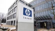 A logo of HP is seen outside Hewlett-Packard Belgian headquarters in Diegem, near Brussels, in this Jan. 12, 2010, file photo. (THIERRY ROGE/REUTERS)