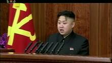 In this Jan. 1, 2013 image made from video, North Korean leader Kim Jong-un speaks in Pyongyang, North Korea. (KRT via AP Video/AP)