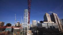 File photo of construction of office towers in downtown Calgary. (Todd Korol for The Globe and Mail)