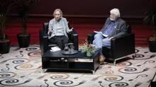 Elizabeth Hay, left, a Canadian novelist and short story writer, sits with Hal Wake, artistic director of the Vancouver Writers Festival. (Word Christchurch literary festival)