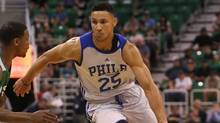 In this July 4, 2016, file photo, Philadelphia 76ers' Ben Simmons dribbles downcourt during an NBA Summer League basketball game against the San Antonio Spurs in Salt Lake City. (Kim Raff/AP Photo)