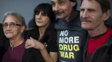 Patients, from left, Larry Love, Deborah Bartosch, Charles English and Doug Lidstrom are plaintiffs making a constitutional court challenge over the federal government's decision to prevent doctors from prescribing heroin to addicts. (John Lehmann/The Globe and Mail)