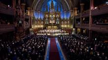 Montreal's Notre Dame Basilica is seen during a commemorative ceremony for businessman Paul Desmarais on Dec. 3, 2013. (PAUL CHIASSON/THE CANADIAN PRESS)