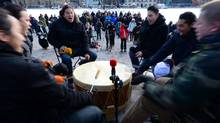 Drummers perform during an Assembly of First Nations rally on Parliament Hill in Ottawa on Tuesday, Dec. 10, 2013. (Sean Kilpatrick/THE CANADIAN PRESS)