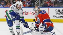 Vancouver Canucks forward Markus Granlund is stopped by Edmonton Oilers goaltender Cam Talbot during the second period at Rogers Place, in Edmonton, on March 18, 2017. (Perry Nelson/USA Today Sports)