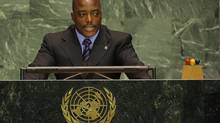 Democratic Republic of Congo President Joseph Kabila addresses the 61st United Nations General Assembly in New York September 20, 2006. REUTERS/Ray Stubblebine (UNITED STATES) (RAY STUBBLEBINE/REUTERS)