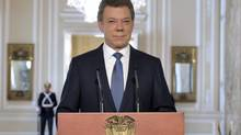 Colombia's President Juan Manuel Santos looks on during a national televised speech at presidential palace in Bogota September 4, 2012. (HANDOUT/REUTERS)