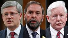 Prime Minister Stephen Harper, left, NDP Leader Thomas Mulcair, centre, and Interim Liberal Leader Bob Rae are shown in a photo combination. (The Canadian Press and Reuters)