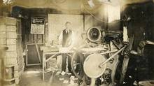 Joseph Coyle and his egg-carton making machine in his factory in Los Angeles, Calif. (Bulkley Valley Museum)
