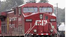 CP Rail engines sit along a siding in North Vancouver Wednesday July 18, 2007. (Chuck Stoody/CP/Chuck Stoody/CP)