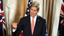 In this Aug. 12, 2014 file photo, U.S. Secretary of State John Kerry gestures as he speaks to the media during a press conference at the conclusion of the AUSMIN talks at Admiralty House in Sydney. (Dan Himbrechts/AP)