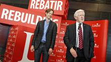 Interim Leader Bob Rae and party president Mike Crawley take questions at the Liberal policy convention in Ottawa on Jan. 15, 2012. (Peter Power/Peter Power/The Globe and Mail)