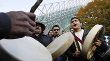In this file photo from Nov. 3, 2009, members of the Nuu-chah-nulth First Nations celebrate a court victory in Vancouver, B.C., following litigations against Canada and British Columbia in what is even today an ongoing effort to have their rights and title to sea resources recognized. (Lyle Stafford For The Globe and Mail)