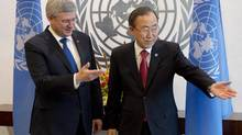 Prime Minister Stephen Harper and UN Secretary-General Ban Ki-moon met on Wednesday afternoon, (Adrian Wyld/THE CANADIAN PRESS)