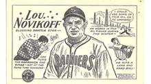 A cartoon of baseball player Lou Novikoff, a lovable eccentric known as the Mad Russian. (From the David Eskenazi Collection)