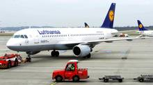 An Airbus A320 of German airline Lufthansa is moved at the airport in Hamburg in a file photo. (FABIAN BIMMER/REUTERS)