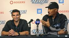 Toronto Blue Jays general manager J.P. Ricciardi introduces new manager Cito Gaston at a news conference in Pittsburgh on June 20, 2008. (DAVID DENOMA)