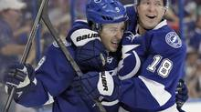 Tampa Bay Lightning centre Tyler Johnson (9) celebrates with teammate left wing Ondrej Palat (18), of the Czech Republic, after Johnson scored against the Edmonton Oilers on Thursday, Nov. 7, 2013, in Tampa, Fla. (Chris O'Meara/THE ASSOCIATED PRESS)
