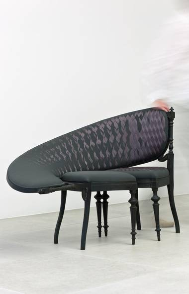 Holland-based designer Sebastian Brajkovic updates traditional furniture for the Photoshop age. His Lathe Chair VII blends an early 19th-century aesthetic with the twists and skews made effortless by computer imaging. The fabrication is equally anachronistic – the upholstery looks like it was created by a broken Xerox machine, but is actually done with traditional embroidery. Through sebastianbrajkovic.com. (sebastianbrajkovic.com)