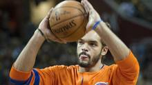 New York Knicks' Joakim Noah is expected to return to practice following knee surgery, and the Knicks hope he can begin serving his 20-game suspension for violating the NBA's anti-drug policy as soon as this week. (Phil Long/AP)