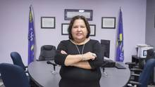 Prosecutor Bonnie Cole stands in the first independent indigenous court in Canada, in Akwesasne, Ont. The court enforces 32 laws covering civil matters such as property and tobacco regulations. (Ryan Remiorz/The Canadian Press)