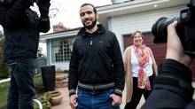 Omar Khadr speaks to the media after he was granted bail in Edmonton, Alberta (Amber Bracken For The Globe and Mail)