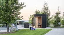 The Story Pod, located at Riverwalk Commons in Newmarket, Ont., is a spot for the community to take or leave a book. (Bob Gundu)