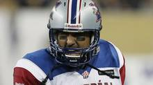 Montreal Alouettes quarterback Anthony Calvillo celebrates a touchdown against the Winnipeg Blue Bombers during the second half of their CFL game at Investors Group Field in Winnipeg Thursday, June 27, 2013. (The Canadian Press)