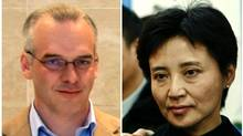 A combination of two photographs shows British businessman Neil Heywood (L) at an Aston Martin dealership in Beijing, May 26, 2010, and Gu Kailai, wife of China's former Chongqing Municipality Communist Party Secretary Bo Xilai (not pictured), at a mourning held for her father-in-law Bo Yibo, former vice-chairman of the Central Advisory Commission of the Communist Party of China, in Beijing January 17, 2007. China will try Gu on charges of murdering Heywood, state media said on July 26, 2012 in the latest turn in a scandal that has rocked the government in Beijing and could bring Gu the death penalty. (Stringer/Files/REUTERS)