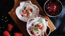 Drunken scallops. Food styling by Andrew Bollis /Judy Inc. (www.judyinc.com). Prop styling by Lynda Felton. (Liam Mogan for The Globe and Mail)