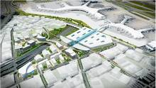 A rendering of the proposed transit centre at Pearson airport.