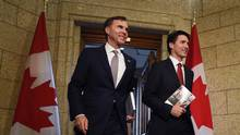 Finance Minister Bill Morneau and Prime Minister Justin Trudeau in Ottawa on Wednesday, March 22, 2017. The Liberals' budget did not offer a strategy to reduce the debt that will increase with continued deficits. (Sean Kilpatrick/The Canadian Press)