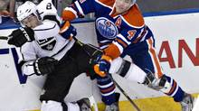 Edmonton Oilers forward Taylor Hall has received a two-game suspension from the NHL for his hit on Wild forward Cal Clutterbuck in Thursday's 3-1 loss to Minnesota (file photo). (Jason Franson/THE CANADIAN PRESS)