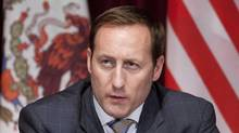 Canadian Minister of National Defence Peter MacKay responds to a question during a news conference following meetings with his American and Mexican counterparts in Ottawa, Tuesday March 27, 2012. (Adrian Wyld/Adrian Wyld/The Canadian Press)