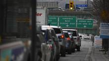 Southbound traffic on Spadina Ave. (south of Front St. West) is already heavy mid afternoon as commuters head for the Gardiner Expressway as they leave Toronto on April 9, 2013. (Fred Lum/The Globe and Mail)