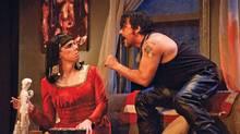 Damien Atkins and Jason Cadieux deliver a vivid performance as a drag queen/macho biker couple. (Bronwen Sharp)