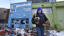 All 16 Goodwill stores in Toronto and surrounding areas were closed on Sunday. (Fred Lum/The Globe and Mail)