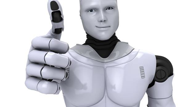 An android gives the thumbs up sign.