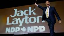 NDP Leader Jack Layton takes to the stage to deliver his keynote speech to the party's 50th anniversary convention in Vancouver on June 19, 2011. (DARRYL DYCK/THE CANADIAN PRESS)