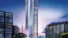 A rendering of the exterior of the Shangri-La in Toronto shows it towering above other buildings in the skyline. (Westbank Projects Corp.)