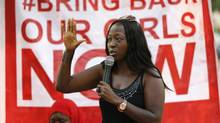 "A member gestures while addressing a sit-in demonstration organized by the Abuja ""Bring Back Our Girls"" protest group at the Unity Fountain in Abuja January 25, 2015. (AFOLABI SOTUNDE/REUTERS)"