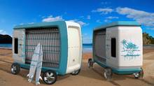 The Maui autonomous surfboard delivery vehicle and rental shop. (Rendering provided by Charles Bombardier)