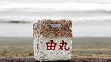Ocean debris believed to be from Japan is posed for a photograph on Long Beach in Tofino, B.C. Wednesday, April, 18, 2012. The debris which has been collected by various locals say that they have seen more debris coming ashore lately with what looks to be Japanese writing on it and could be related to the Japanese tsunami. (THE CANADIAN PRESS/JONATHAN HAYWARD)