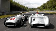 The open wheel and closed wheel versions of the Mercedes-Benz W196 Grand Prix cars. (Mercedes-Benz/Mercedes-Benz)