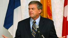 New Brunswick Premier-designate David Alward speaks during a news conference at the Delta hotel in Fredericton, New Brunswick, September 28, 2010. His Progressive Conservative party had won a majority government on Monday. (PAUL DARROW/Paul Darrow /Reuters)