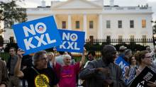 Demonstrators, celebrating US President Barack Obama's blocking of the Keystone XL oil pipeline, rally in front of the White House in Washington, DC on November 6, 2015. (ANDREW CABALLERO-REYNOLDS/AFP/Getty Images)