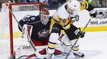 Pittsburgh Penguins defenceman Chad Ruhwedel looks to shoot against Columbus Blue Jackets goalie Sergei Bobrovsky during Game 4 in Columbus Tuesday, April 18, 2017. (Russell LaBounty/USA Today Sports)