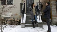 Sabina Dimant talks to real state agent Ira Jelinek outside the house she is thinking about buying on Arlington Avenue. (Fernando Morales/The Globe and Mail)