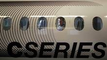 A mock fuselage of a C Series jet in a Bombardier plant in Montreal. (Christinne Muschi for The Globe and Mail)