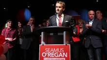"Seamus O'Regan, flanked by supporters, makes his acceptance speech at the Delta Hotel in downtown St. John's following his win in the district of St. John's South on October 19, 2015. The newly-elected Liberal MP and former broadcast journalist says he has entered a wellness program to adopt ""an alcohol free lifestyle. (Paul Daly/THE CANADIAN PRESS)"